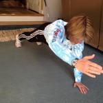 plank hand reach -close